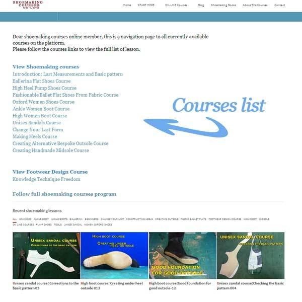shoemaking courses-list