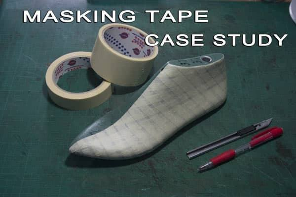 Shoe-last-cover-using-masking-tape