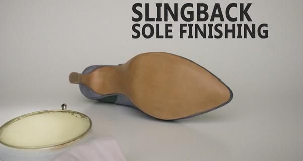 Slingback sole finishing: Slingback pumps shoes course 14