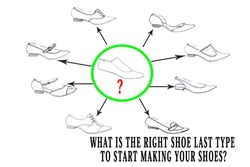 "What is the right shoe last type to start making your shoes? Image of last in the middle and around many shoe types In the previous post about shoe lasts I talked with you; about shoe lasts types. I explained you that we have many different shoe last types to work with. If you missed this post check it here: https://www.shoemakingcoursesonline.com/shoe-last-types/ To not repeat what I already explained in the previous post l want to remind you only the main thought from this post: To make certain shoe type you need to have its own shoe last. From this understanding you may make a logical conclusion that to make variety of footwear types, like boots,sandals,pumps etc, you need to have all this shoe lasts types. Yes, in some sense, it is correct, but there is a way how you can overcome it and in this post I will show you how. I will explain you, what is the right shoe last type you need to get started making your shoes and make not only one shoe type, but variety of shoe types. So what is ""right"" shoe last type ? The right shoe last type you need to get started making your shoes is pump last. Pic of pump last Now let's see what shoe types you can make using the pumps last and why. Court Shoes First of all you can make all court shoes on the pump last. You can do it, because all court shoes like pump shoes (that is also one of the court shoe types) have a low throat line and can be constructed on the pump last. I explain how to construct it correctly using pump last in my footwear design course Footwear Design Course Knowledge -Technique – Freedom . This is one of the main ideas of this course, how to use your knowledge and create many different shoe types. So you can make those 6 different shoe types (court shoes) using pump last: 1. Pumps itself 2. Marry-Jane pumps 3. T-strap pumps 4. Sling back pumps 5. D'orsey pumps 6. Loafers Pic of those types Shoes With Fastening and Laces Second group of shoe types that you can make using pump last are shoes with laces. I want to explain you why we can do it. The pump last have narrow instep, to keep well the pumps on the feet without any fastening. But because this shoe group have laces we can build them even on pump last with narrow instep because of the laces. The shoes with laces that you can create on pump last are: 1. Oxford shoes 2 Derby shoes 3. Any other type with fastening Pic of those shoes More than this, you can also make your pump last wider in the instep using veg tanned leather, if the instep of your pump last is too narrow for you. I explain how to do it in my bespoke derby course. Bespoke Derby Handsewn Opanka Shoes Course Boots Although in the previous post I told you that to make any kind of boots ( high, low) you need to use boot lasts, there is a pattern making technique that will help you to construct boot pattern using pump last. In my boot course I teach this unique approach. Using this approach you will be able to use your pump last and make variety of boots types ( High Women Boot Course ) . Small shoemaking tip: To last boot upper on pump last you can also attach to the back part additional piece of veg tanned leather to make the shape of the pump's back similar to the back of boot's last shape. Pic of boot last with image of pump last with leather Conclusion: With pump last you can be making these 9 different footwear types: 1. Pumps 2. Mary-jane pumps 3. T-strap pumps 4. Sling back pumps 5. D'orsey pumps 6. Loafers 7. Oxford shoes 8. Derby shoes 9. Boots This is it. I hope this post will guide you in the right direction when choosing your first last. Now, if you have chosen a different kind of last as you ""first last"" please share in the comment below and tell us what was your experience working with this last and making your first shoes."