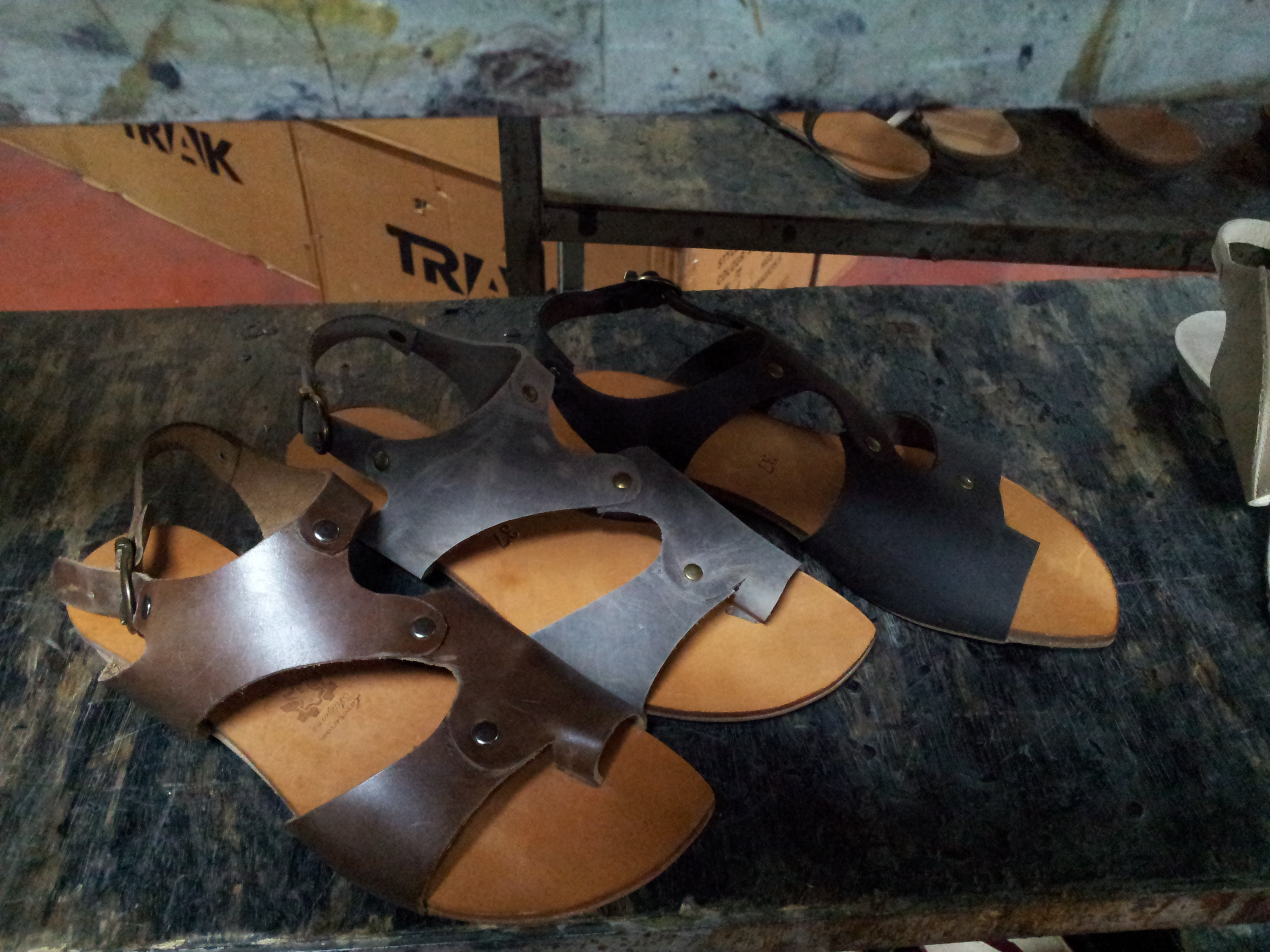 Sandal straps with raw edge