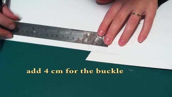 pattern making of the sandal's strap that holds the buckle