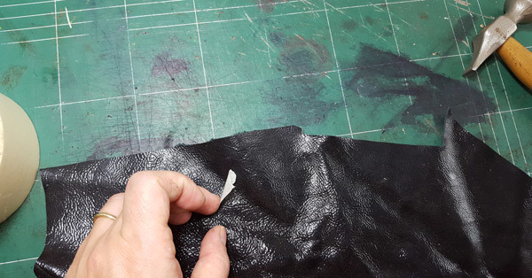 leather for shoes before cut step two