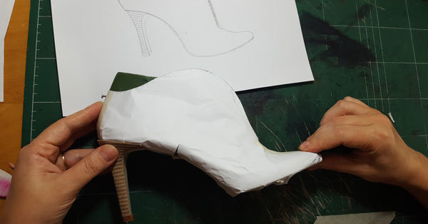 paper boot pattern ready to proceed with full pattern making