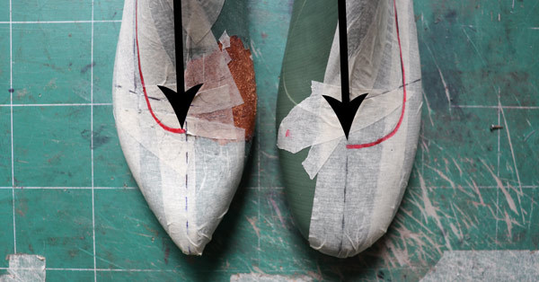 the opening of the neckline in making flat ballet shoes