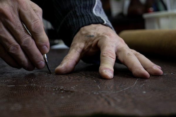 cutting leather for sneakers